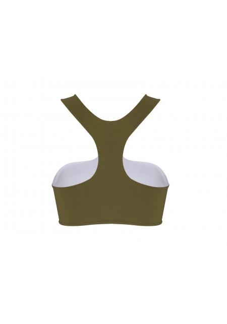 TOP PARME Bikini top in olive green -  Maillot de bain prix doux