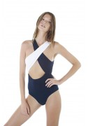 One-piece swimsuit in indigo and white (Chloé)