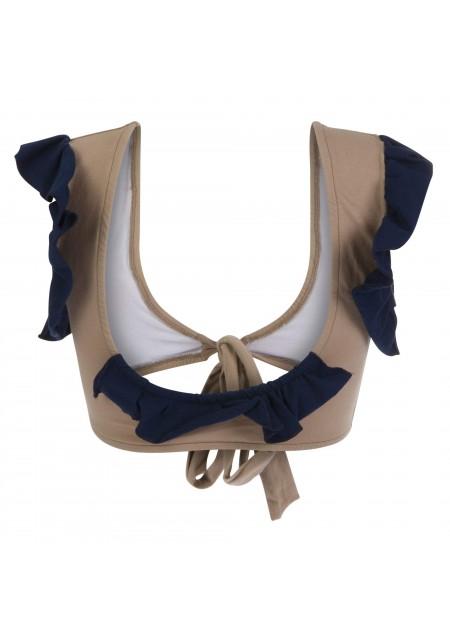 TOP MELLISANDRE Bikini top in mocha with indigo ruffles -  Maillot de bain prix doux