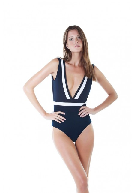 TIPHAINE One-piece swimsuit in indigo and white -  Maillot de bain prix doux