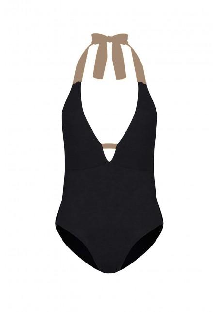 MAYA Black and chanterelle One piece swimsuit -  Maillot de bain prix doux