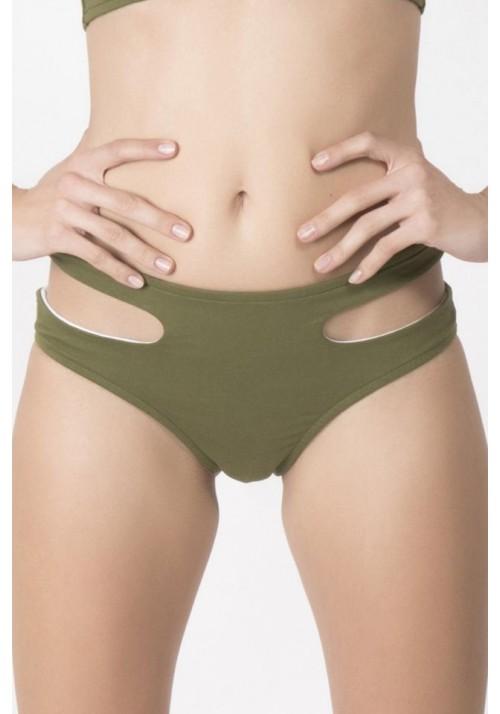 BOTTOM PARME High-rise bikini briefs in olive green -  Maillot de bain prix doux