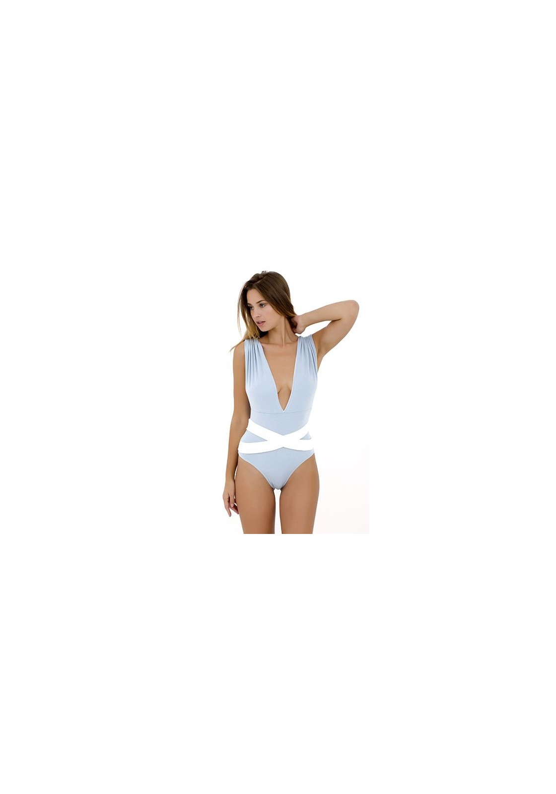 5e7518dc85f4a One-piece swimsuit in blue and white - Elisa
