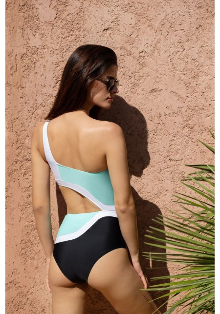 INES One-piece swimsuit in black, turquoise and white  -  Maillot de bain prix doux