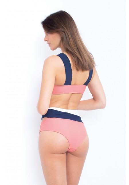HAUT MARINE Haut de maillot de bain rose, bleu marine et blanc -  Maillot de bain prix doux