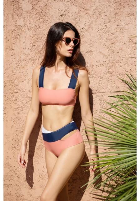BRIEFS MARINE Bikini briefs in pink, navy blue and white -  Maillot de bain prix doux