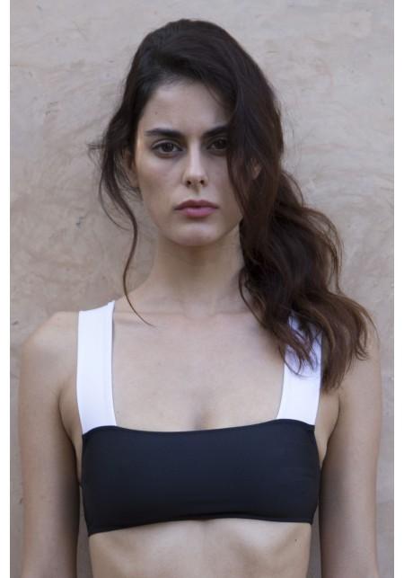 TOP MARINE Bikini top in black and white -  Maillot de bain prix doux