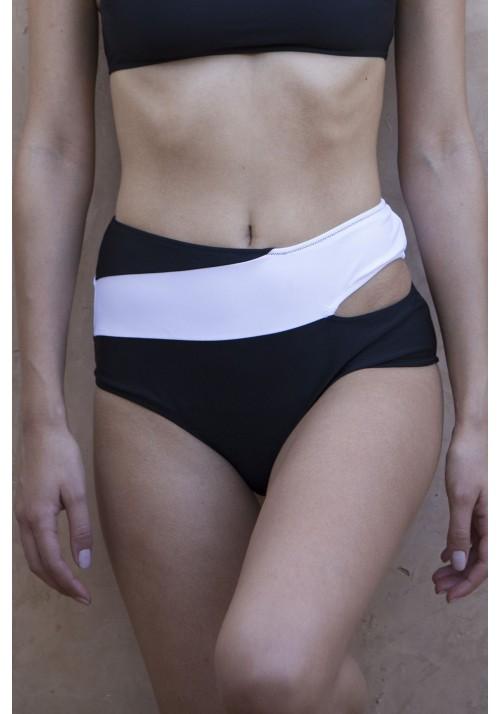 BAS MARINE Bas de maillot de bain noir et blanc -  Maillot de bain prix doux