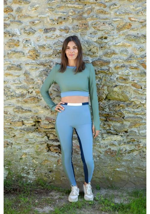 MARION Azure, navy blue, Khaki and whitesport legging -  OUTLET SPORT