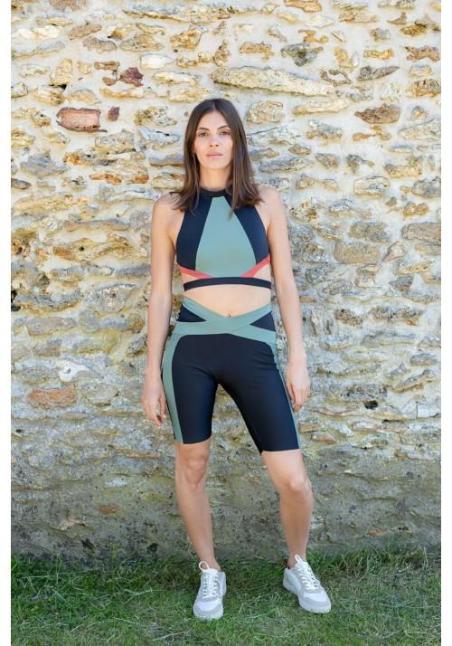 KAKO Black and khaki cycling short -  OUTLET SPORT