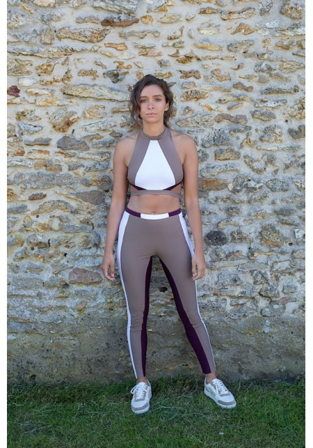 MARION Beige, white and purple sport legging -  OUTLET SPORT