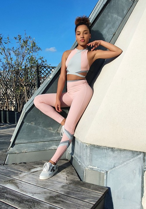ANNA Pink andgrey sports bra -  Cloud collection