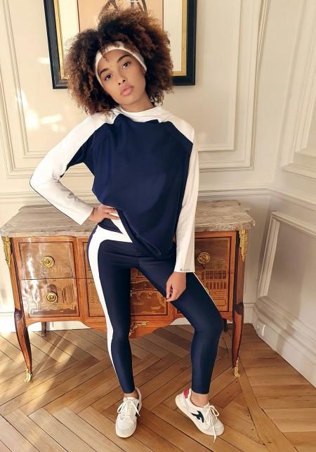 MAX Sweatshirt à capuche bleu marine et blanc -  Cloud collection
