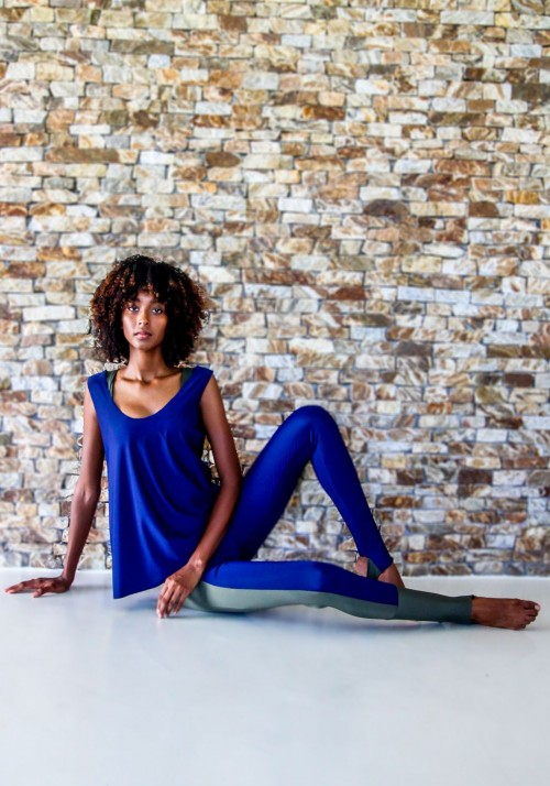 LUCIA Navy blue and khaki tank top -  Active wear