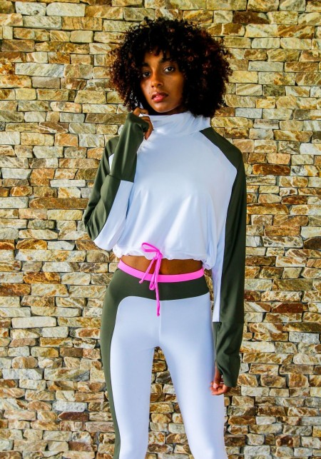 JOY Long-sleeved white, khaki and pink hooded sweatshirt -  Active wear