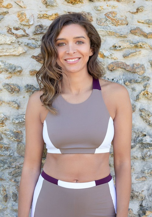 AMELIE Beige, white and purplesport bra -  OUTLET SPORT