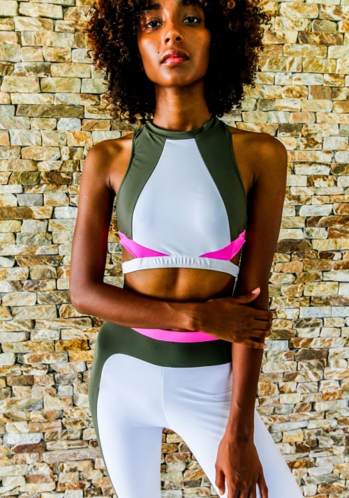 ANNA Khaki, pink and whitesport bra -  Active wear