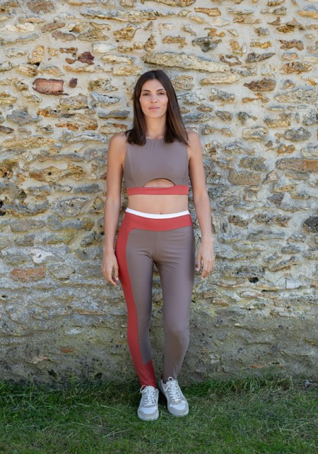 PALOMA Beige, rust and whitesport legging -  OUTLET SPORT