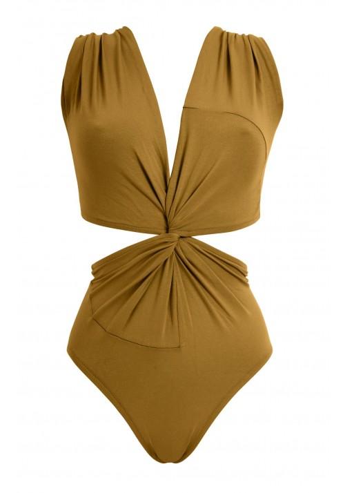 DORO Mustard one-piece swimsuit in organic cotton -  Maillot de bain prix doux