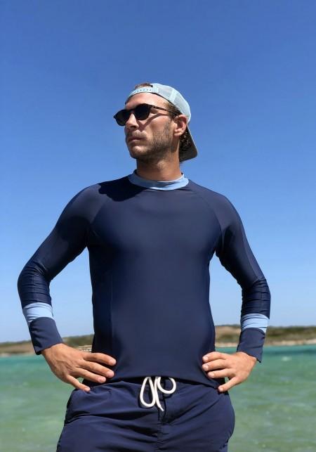t-shirt lycra bleu marine et bleu ciel| Adrien
