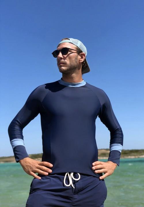 Adrien Blue man'slong-sleeves bicolor lycra wetsuit -  maillot de bain homme