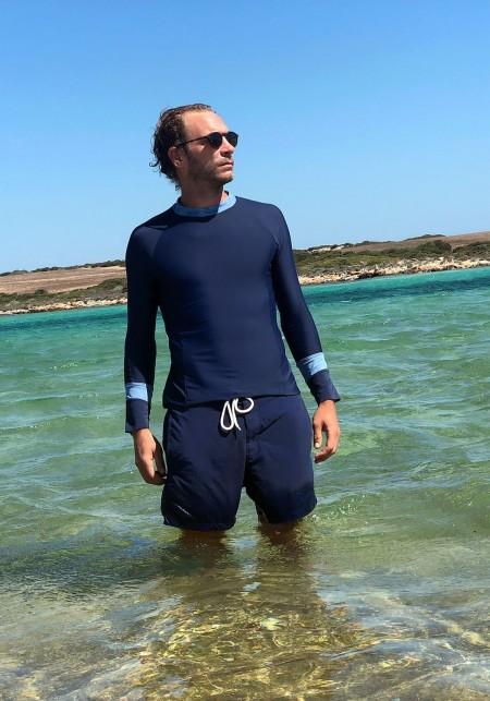 Blue man long-sleeves t-shirt | Adrien