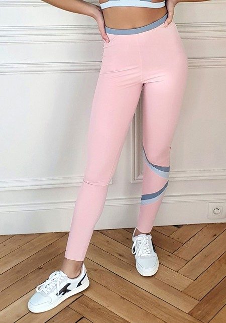 Legging de sport rose et camaïeu de gris  - BONNY