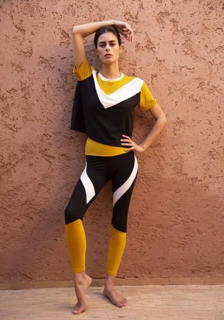 Tshirt tricolore asymétrique noir, blanc et jaune - Pearl