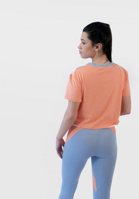 PEARL Orange, white and sky blue cropped t-shirt -  Active wear