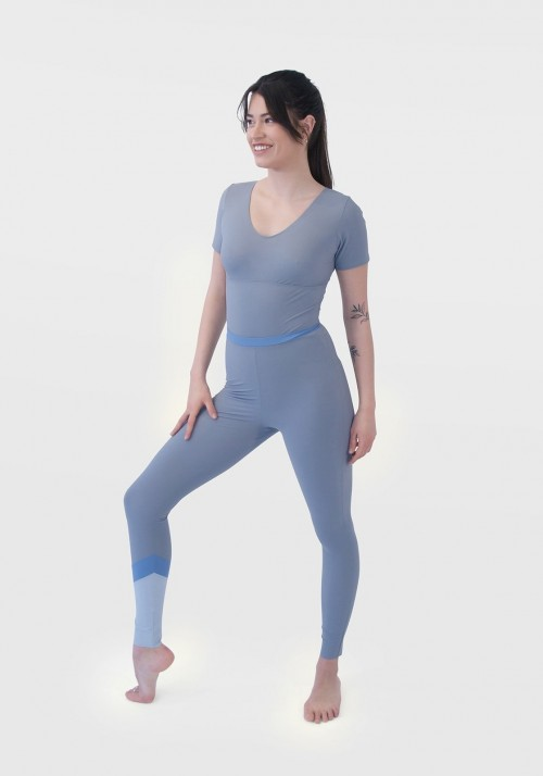 NINA Sports legging with shades of grey and sky blue -  Cloud collection