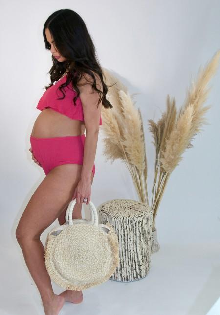 HANNAH Pink high waisted bikini bottom -  Swimwear