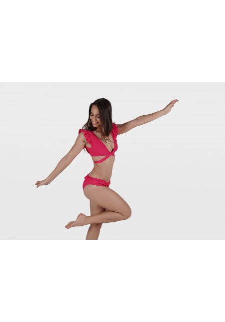 MELISSANDRE BOTTOM Bikini briefs infuchsia waffle with ruffles -  Maillot de bain prix doux
