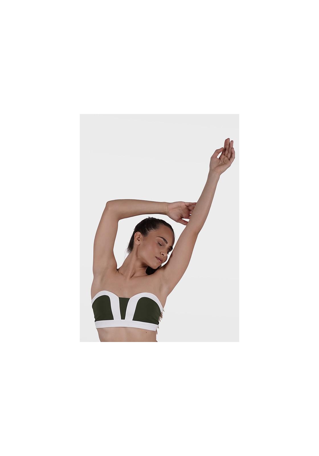 AURELIE TOP Khakiand white bikini top in bandeau style -  Maillot de bain prix doux