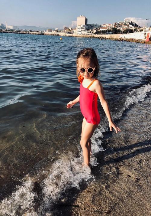 ESTHER BABY Fuchsia and orange one-piece children's swimsuit -  Maillot de bain enfant