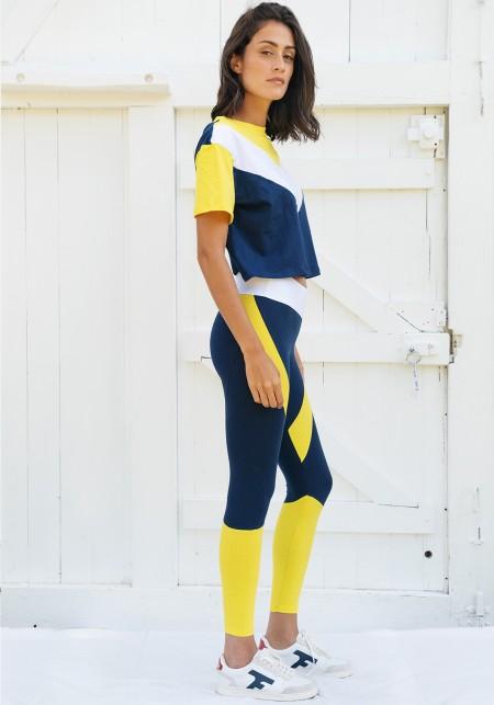 Tshirt tricolore asymétrique bleu foncé, blanc et jaune - Pearl