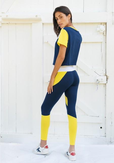 Legging de yoga bleu, jaune et blanc - JANE
