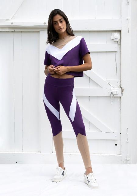 Legging de sport violet, beige etblanc - JANE
