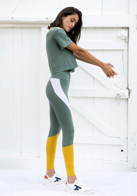 Legging de sport vert d'eau,blanc et moutarde - JANE