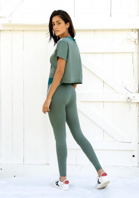 Legging de sport bleu ciel, vert d'eau et émeraude - JANE