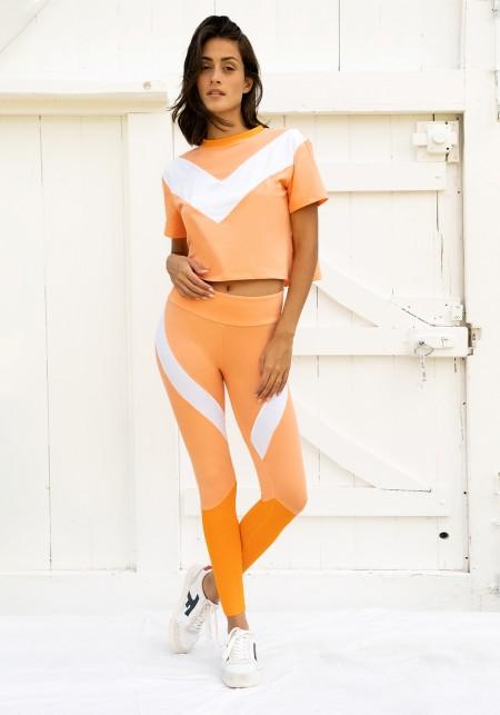 Legging de sport orange et blanc - JANE
