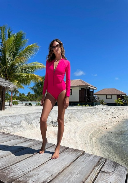 ELY Pink long sleeve nautical wetsuit -  One-piece Swimsuits