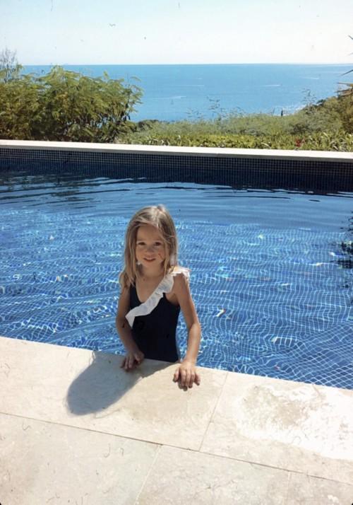 JULIA BABY Maillot de bain fille 1pièce bleubleu marine et blanc -  Maillot de bain enfant