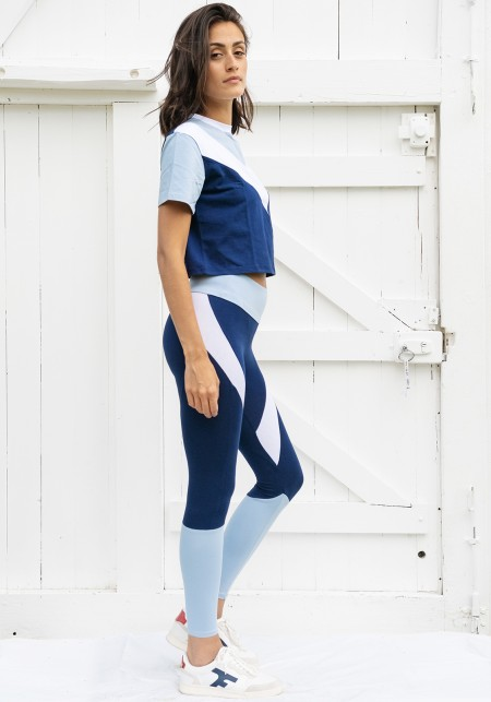 Legging de yoga bleu, blanc et bleu ciel - JANE