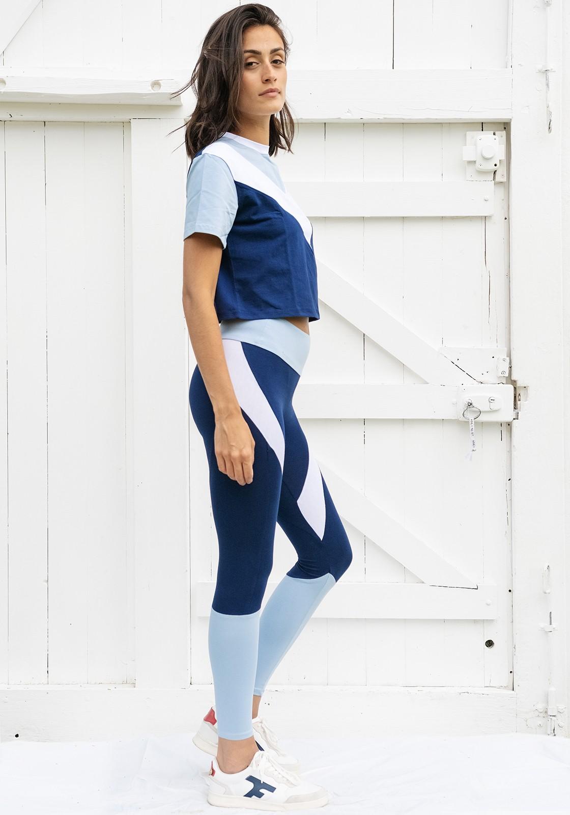 JANE Navy blue, white and azureyoga legging -  Active wear