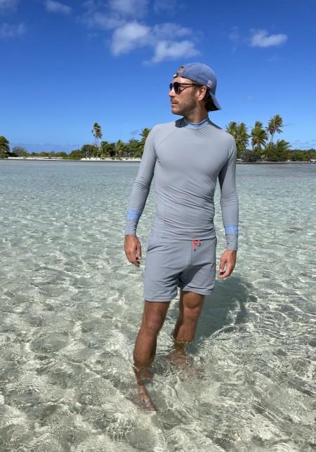 Grey and blue man long-sleeves t-shirt | Maoui